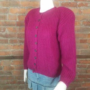 Vintage Women's Cardigan Fuzzy Sweater Maroon